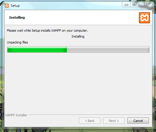 A picture of XAMPP slowly installing