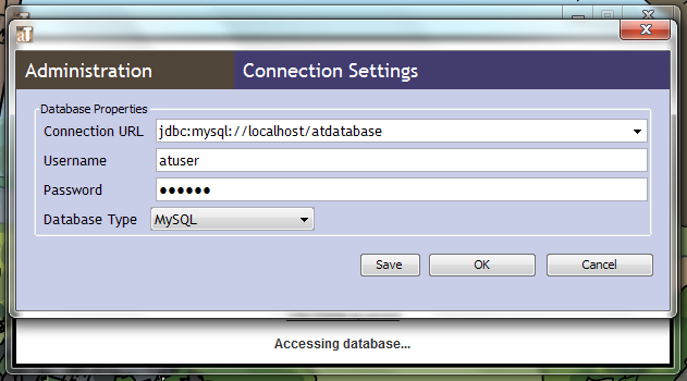 Connection settings image for the database