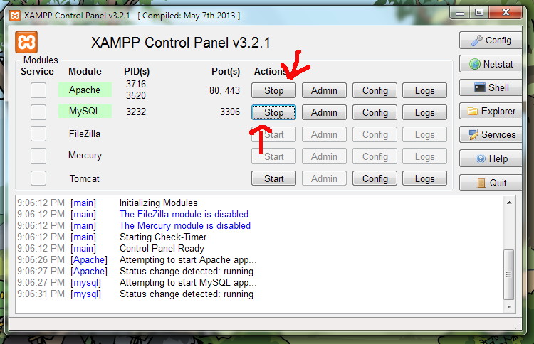 When restarting XAMPP, be sure to turn on both Apache and MySQL